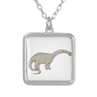 Brontosaurus-Dinosaurier, der hinunter Monolinie Versilberte Kette