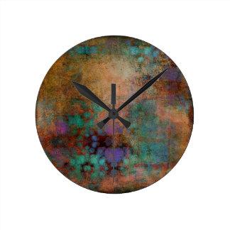 Bronze, aquamarines, lila abstraktes runde wanduhr