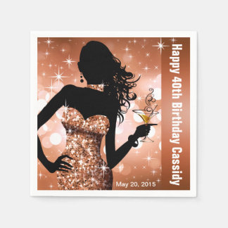 Bronze des Bling Bomben-Schein-Geburtstags-Party | Papierserviette