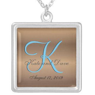Bronze-Hochzeit des Monogramm-3d Halskette Mit Quadratischem Anhänger