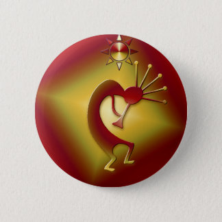 Bronze u. Gold Kokopelli Runder Button 5,7 Cm