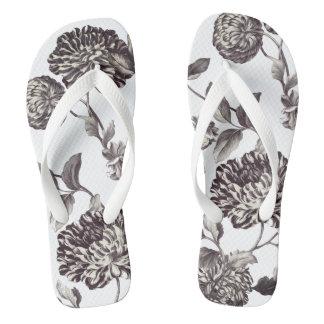 Bronze u. weißes Vintages botanisches BlumenToile Flip Flops
