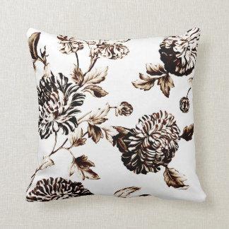 Bronze u. weißes Vintages botanisches BlumenToile Kissen