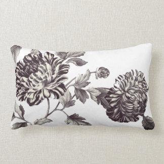 Bronze u. weißes Vintages botanisches BlumenToile Lendenkissen