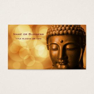 Bronzebuddha-Statue mit goldenem Bokeh Hintergrund Visitenkarte
