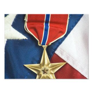 Bronzestern auf amerikanischer Flagge Einladungskarte