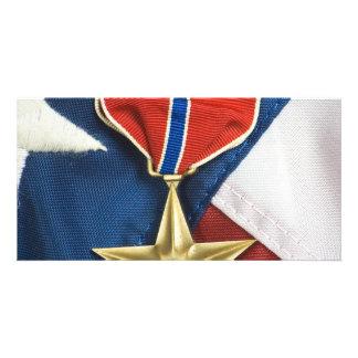 Bronzestern auf amerikanischer Flagge Photokarten