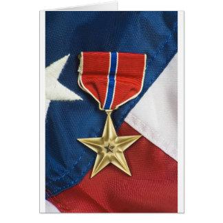 Bronzestern auf amerikanischer Flagge Grußkarte