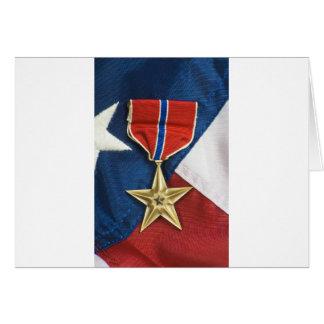 Bronzestern auf amerikanischer Flagge Karten