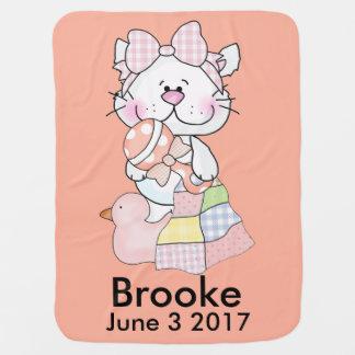 Brookes personalisierter Kitty Babydecke