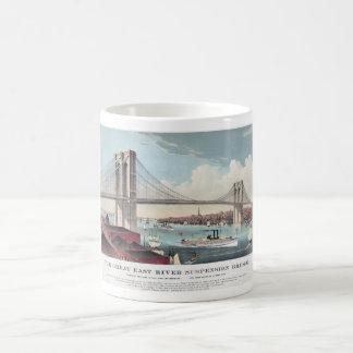 Brooklyn-Brücke und Vintager Druck Kaffeetasse