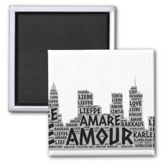 Brooklyn New York illustriert mit Liebe-Wort Quadratischer Magnet