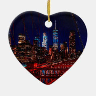 Brookyln NachtSkyline Keramik Herz-Ornament