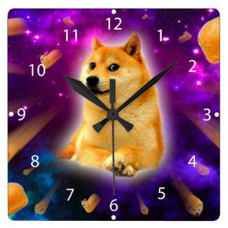 Brot - Doge - shibe - Raum - wow Doge Quadratische Wanduhr