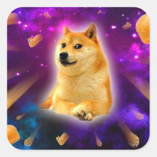 Brot - Doge - shibe - Raum - wow Doge Quadratischer Aufkleber