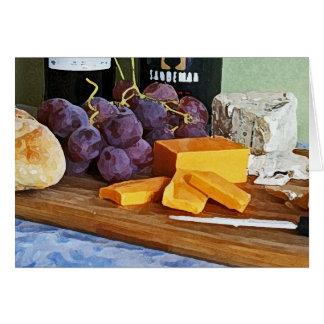 Brot-Trauben-Cheddarkäse-und Karte