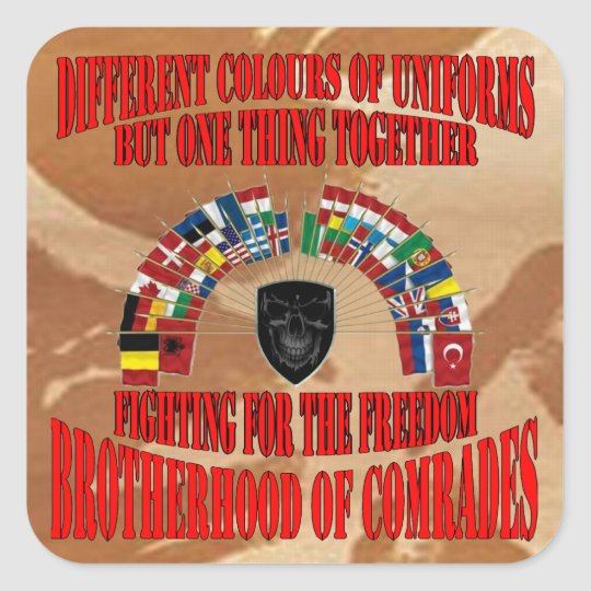 Brotherhood of Military Comrades Quadratischer Aufkleber