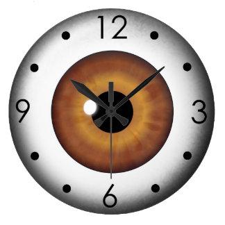 Brown-Augapfel-Iris-Augen-kundenspezifische große Große Wanduhr