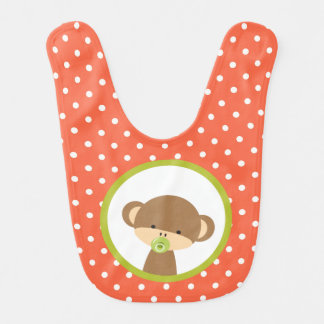 Brown-Baby-Affe mit Schnuller auf Polka-Punkten Babylätzchen