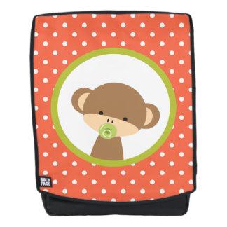 Brown-Baby-Affe mit Schnuller auf Polka-Punkten Rucksack