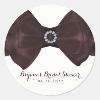 Brown-Band u. Diamant-Brautpartyeleganter Chic Runder Aufkleber