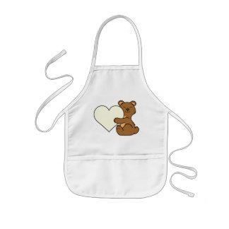 Brown-Bär des Valentines niedlicher Tagesmit Kinderschürze