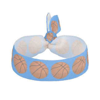 Brown-Basketball-Bälle auf azurblauem Blau Haargummi