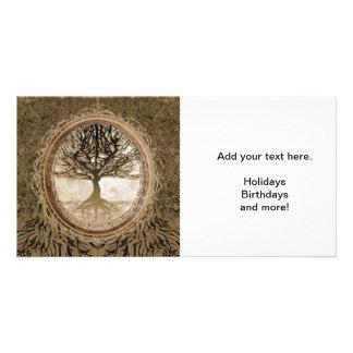Brown-Baum des Leben-Musters Fotokartenvorlage