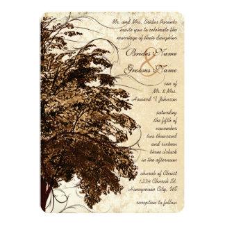 Brown blühen Eichen-Baum-Hochzeits-Einladung Karte