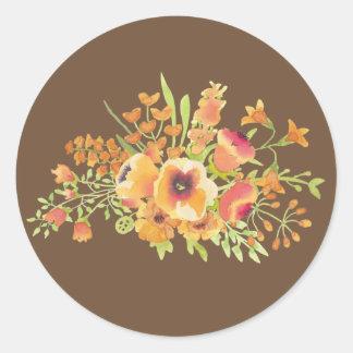 Brown-Blumen klassischer runder Aufkleber, glatt Runder Aufkleber