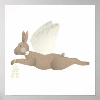 Brown-Engels-Kaninchen mit gelben Flügeln Poster