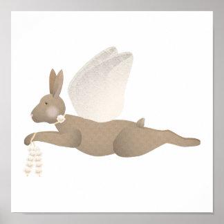 Brown-Engels-Kaninchen mit orange Flügeln Poster