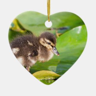Brown-Entlein, das auf Wasserlilien-Blätter geht Keramik Herz-Ornament