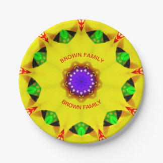 BROWN-FAMILIE ~ Gelb-Weihnachtsplatten-Fraktal ~ Pappteller