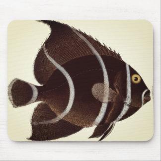 Brown-Fisch mit Weiß Stripes Vintage Mausunterlage Mauspad