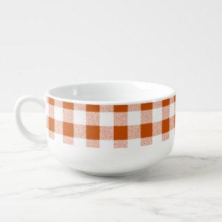 Brown-Gingham-Karo Große Suppentasse