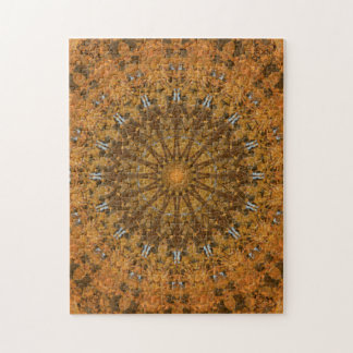 Brown, Gold u. orange Herbst-Mandala-Kaleidoskop Puzzle