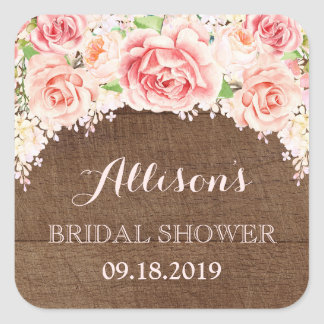 Brown hölzernes rosa Watercolor-Blumen-Brautparty Quadratischer Aufkleber
