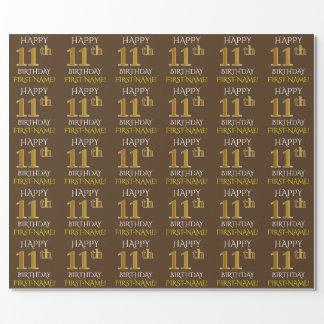 """Brown, Imitat-Gold """"GLÜCKLICHER 11. GEBURTSTAG """" Geschenkpapier"""
