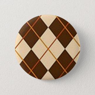 Brown kariert runder button 5,7 cm