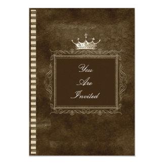 Brown-Kronen-Hochzeits-Einladungen 12,7 X 17,8 Cm Einladungskarte