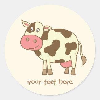 Brown-Kuh Runder Aufkleber