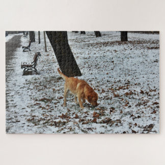 Brown Labrador im Schnee Puzzle
