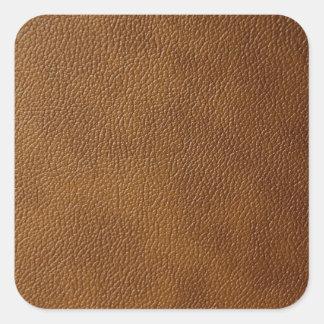 Brown-Leder-Blick Quadratischer Aufkleber