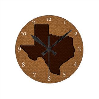 Brown-Leder-Blick Texas Runde Wanduhr