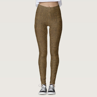 Brown-Leinwand-Beschaffenheit Leggings
