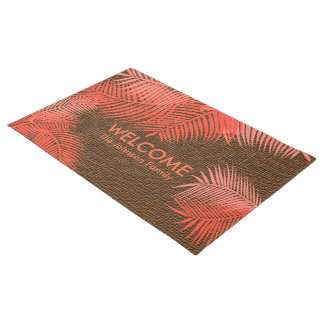Brown-Leinwand mit korallenrotem Plam Blätter Türmatte