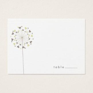 Brown-Löwenzahn-Liebe-Sommer-Hochzeits-Platzkarten Visitenkarte