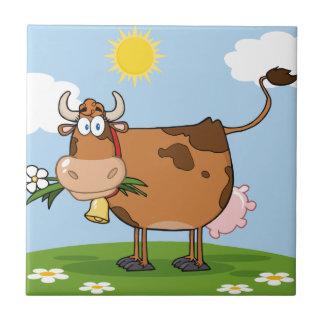 Brown-Milchkuh Kleine Quadratische Fliese