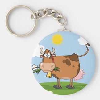 Brown-Milchkuh Standard Runder Schlüsselanhänger